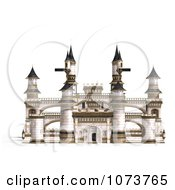 Clipart 3d Medieval White Palace 1 Royalty Free CGI Illustration