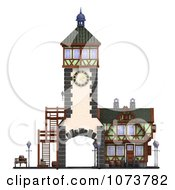 Clipart 3d Medieval Clock Tower Building 1 Royalty Free CGI Illustration by Ralf61