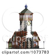 Clipart 3d Medieval Clock Tower Building 2 Royalty Free CGI Illustration by Ralf61