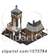 Clipart 3d Medieval Clock Tower Building 3 Royalty Free CGI Illustration by Ralf61