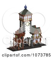 Clipart 3d Medieval Clock Tower Building 4 Royalty Free CGI Illustration by Ralf61