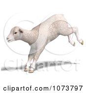 Clipart 3d White Lamb Sheep Jumping 2 Royalty Free CGI Illustration