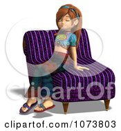 Clipart 3d Hippie Girl Sitting On A Chair Royalty Free CGI Illustration