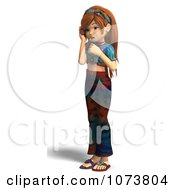 Clipart 3d Hippie Girl Talking On A Cell Phone 1 Royalty Free CGI Illustration