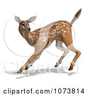 Clipart 3d Startled Baby Yearling Deer Fawn Royalty Free CGI Illustration