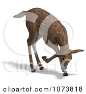 Clipart 3d Baby Yearling Deer Fawn Grazing 2 Royalty Free CGI Illustration