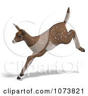 Clipart 3d Baby Yearling Deer Fawn Leaping 2 Royalty Free CGI Illustration