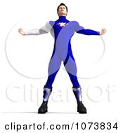 Clipart 3d Superhero Man Flexing In A Blue Suit Royalty Free CGI Illustration