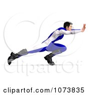 Clipart 3d Superhero Man Pushing In A Blue Suit Royalty Free CGI Illustration
