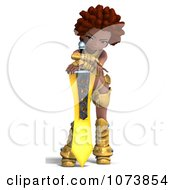 Clipart 3d Black Knight Girl Holding A Sword 4 Royalty Free CGI Illustration