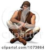 Clipart 3d Apache Native American Indian Man Sitting Royalty Free CGI Illustration