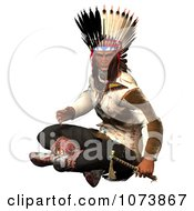 Clipart 3d Native American Indian Man Holding A Hatchet 1 Royalty Free CGI Illustration