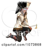 Clipart 3d Native American Indian Man Holding A Hatchet 2 Royalty Free CGI Illustration