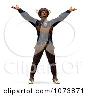Clipart 3d Native American Indian Man Holding His Arms Up To The Sky Royalty Free CGI Illustration