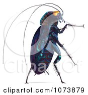 Clipart 3d Purple Waterbug Cockroach Insect 4 Royalty Free CGI Illustration