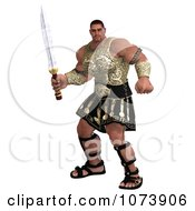 3d Strong Muscular Hercules Man Holding A Sword 4