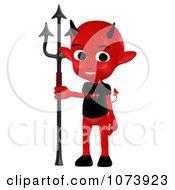 Clipart 3d Red Little Devil Holding A Pitchfork 2 Royalty Free CGI Illustration