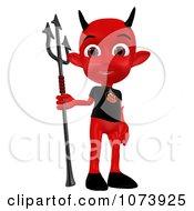 Clipart 3d Red Little Devil Holding A Pitchfork 4 Royalty Free CGI Illustration