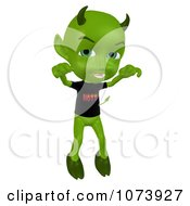 Clipart 3d Green Little Devil Holding His Arms Up Royalty Free CGI Illustration