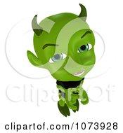 Clipart 3d Green Little Devil Thinking Royalty Free CGI Illustration