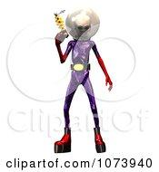 Clipart 3d Alien Holding A Ray Gun 1 Royalty Free CGI Illustration