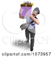 Clipart 3d Postal Mail Man Delivering A Gift Package Royalty Free CGI Illustration by Ralf61