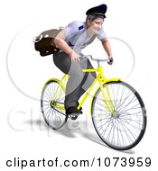 Clipart 3d Postal Mail Man On A Bike Royalty Free CGI Illustration by Ralf61