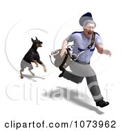Clipart 3d Doberman Dog Chasing A Postal Mail Man Royalty Free CGI Illustration