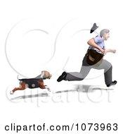 Clipart 3d Austrian Black And Tan Hound Dog Chasing A Postal Mail Man Royalty Free CGI Illustration by Ralf61