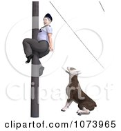 Clipart 3d Bull Terrier Dog Chasing A Postal Mail Man Up A Pole 2 Royalty Free CGI Illustration