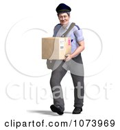 Clipart 3d Postal Mail Man Delivering A Parcel 1 Royalty Free CGI Illustration by Ralf61