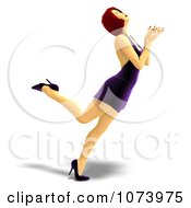 Clipart 3d Red Haired Woman Dancing In A Purple Dress 3 Royalty Free CGI Illustration