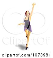 Clipart 3d Red Haired Woman Dancing In A Purple Dress 2 Royalty Free CGI Illustration