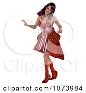 Clipart 3d Woman Dancing In A Red Dress Royalty Free CGI Illustration