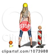 Clipart 3d Sexy Construction Zone Woman Holding A Stop Sign Royalty Free CGI Illustration