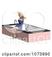Clipart 3d Woman Draped In A Towel By A Bath Tub 1 Royalty Free CGI Illustration