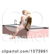 Clipart 3d Woman Draped In A Towel By A Bath Tub 2 Royalty Free CGI Illustration