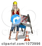 Clipart 3d Sexy Construction Zone Woman Holding A Turn Sign Royalty Free CGI Illustration
