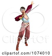 Clipart 3d Pirate Woman Fighting With A Sword 1 Royalty Free CGI Illustration
