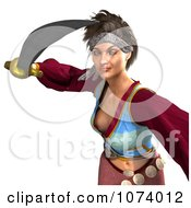Clipart 3d Pirate Woman Fighting With A Sword 3 Royalty Free CGI Illustration