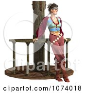 Clipart 3d Pirate Woman Leaning Against A Rail Royalty Free CGI Illustration