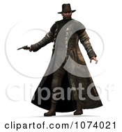 Clipart 3d Cowboy Hunter Holding A Pistol Royalty Free CGI Illustration