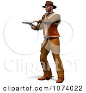 Clipart 3d Cowboy Shooting A Pistol 1 Royalty Free CGI Illustration