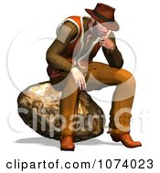 Clipart 3d Cowboy Sitting On A Rock Royalty Free CGI Illustration by Ralf61
