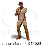 Clipart 3d Cowboy Shooting A Pistol 2 Royalty Free CGI Illustration