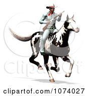 Clipart 3d Masked Cowboy Hero With A Gun On His Horse Royalty Free CGI Illustration