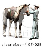 Clipart 3d Masked Cowboy Hero Tending To His Horse Royalty Free CGI Illustration by Ralf61