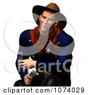 Clipart 3d Wild West Cowboy Holding A Pistol And Playing Cards Royalty Free CGI Illustration