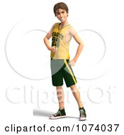 Clipart 3d Teen Basketball Player Boy Celebrating Royalty Free CGI Illustration