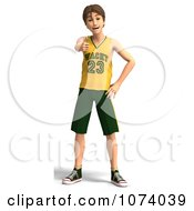 Clipart 3d Teen Basketball Player Boy Holding A Thumb Up Royalty Free CGI Illustration
